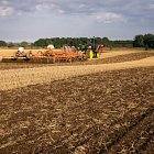 Establishing Oil Seed Rape -  one pass system. Aqueel roller at the back firming the seedbed and applying slug pellets