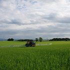Challenger RoGator spraying fungicides on Spring Barley in 2013